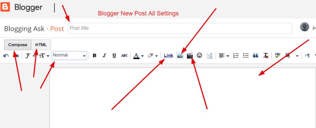 Bloggger new post all settings