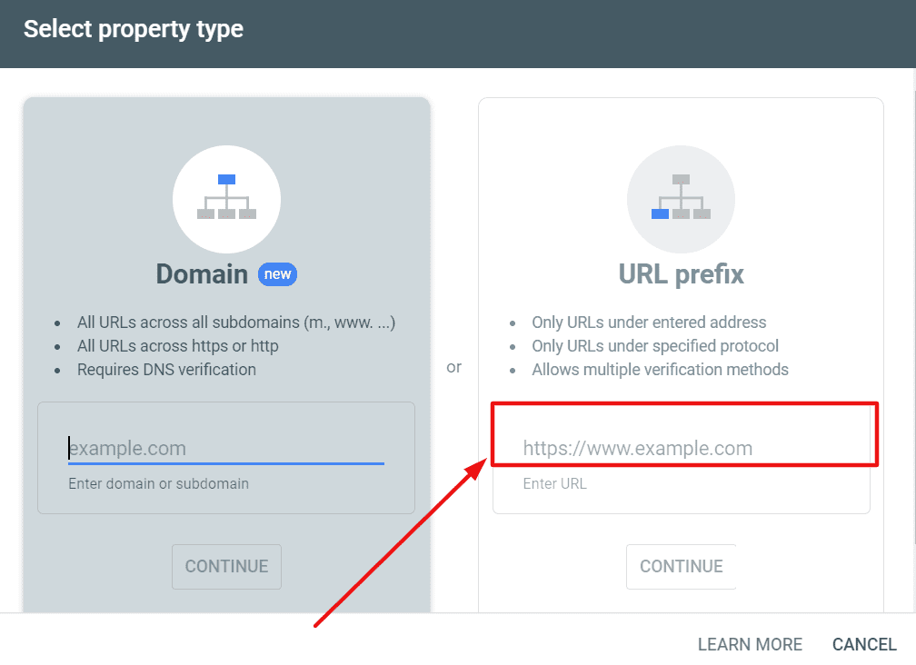 submit property in google search console