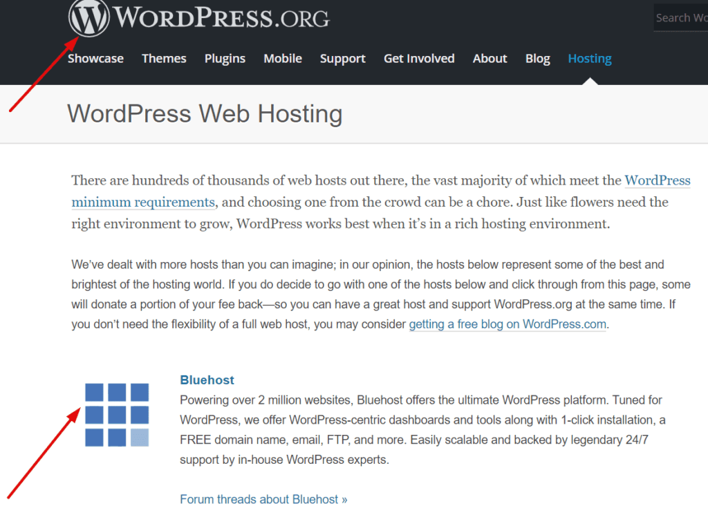 wordpress recommend bluehost