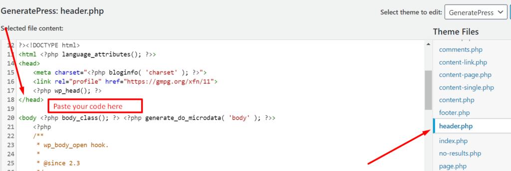 analytics code in theme header