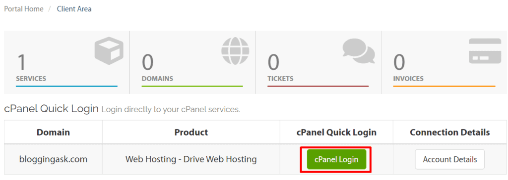 a2 hosting client area