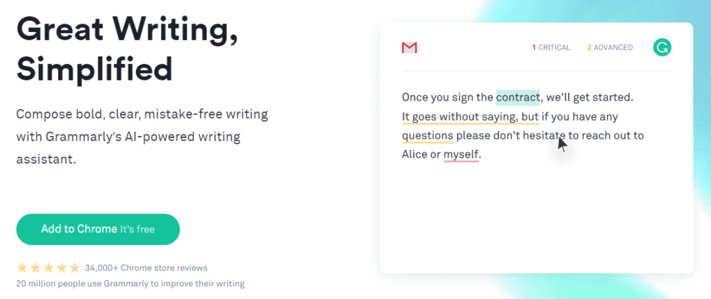 Grammarly home pge