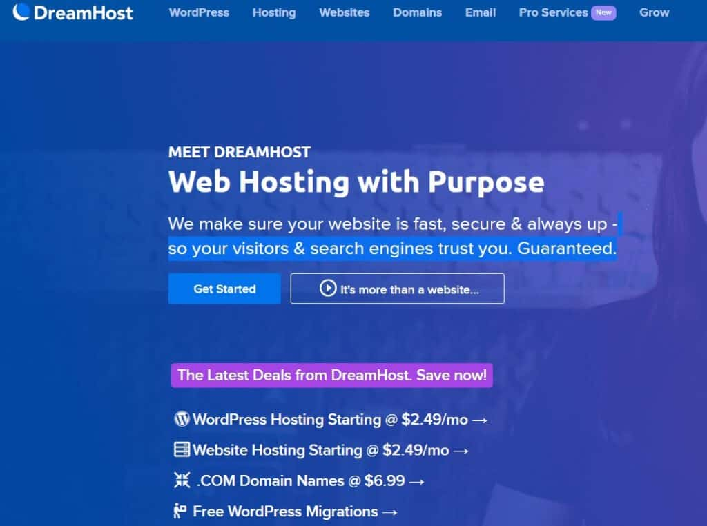 dreamhost home page