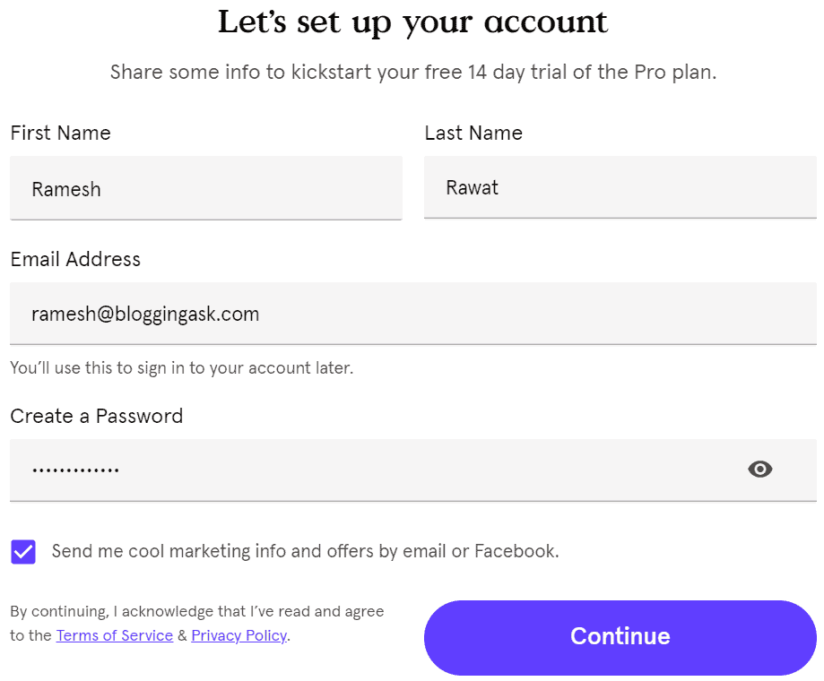 set up your leadpages account