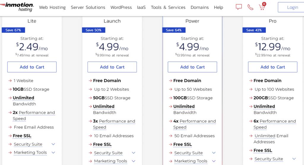 inmotion hosting pricing