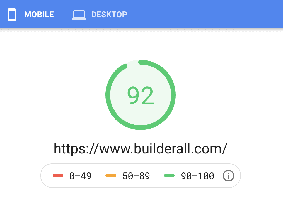Builderall Speed on Mobile