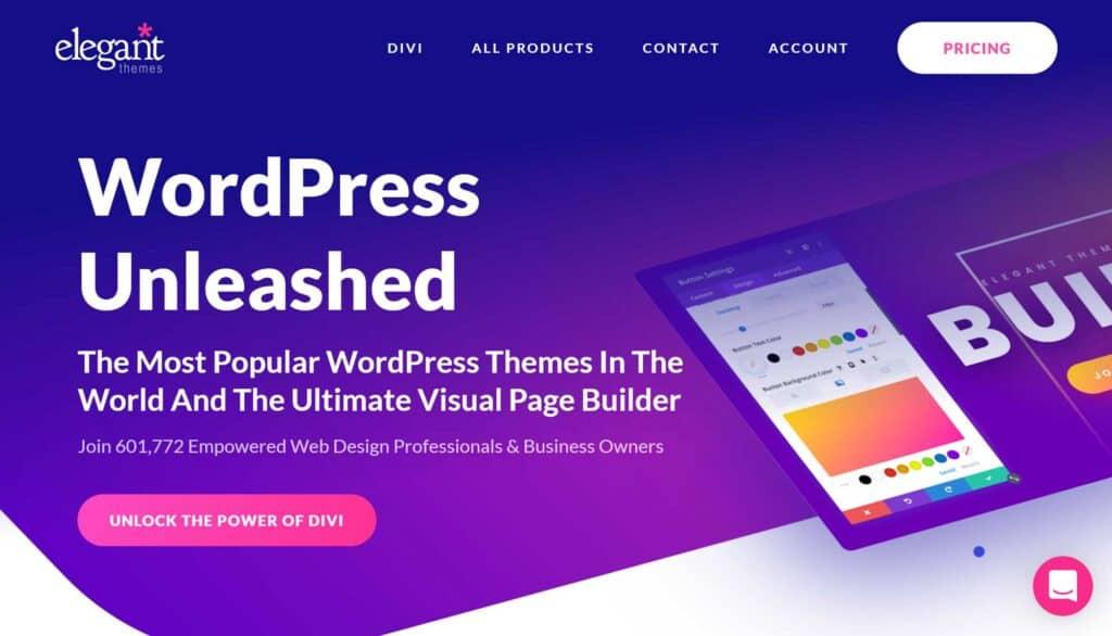 Elegant Themes Website Homepage