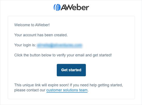 aweber account created
