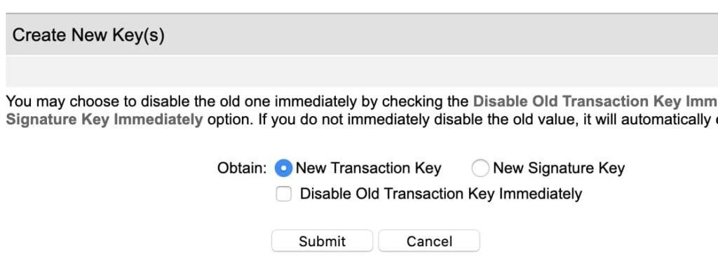 Create New Transaction Key
