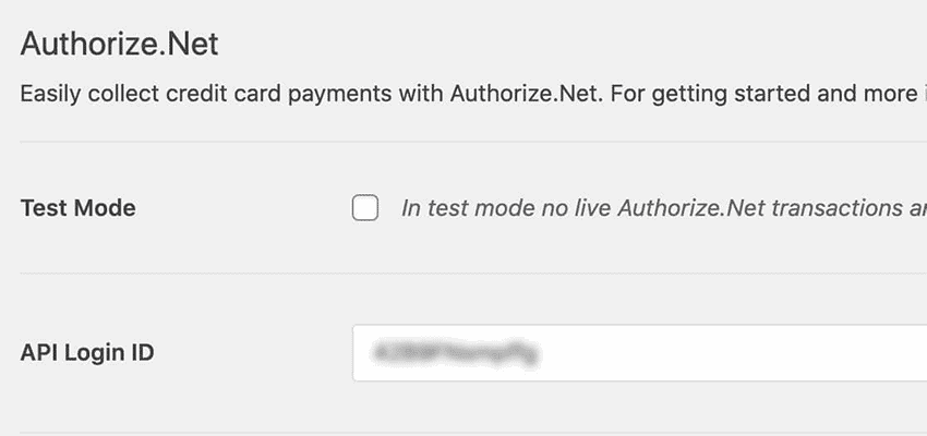 Paste API Login ID into WPForms