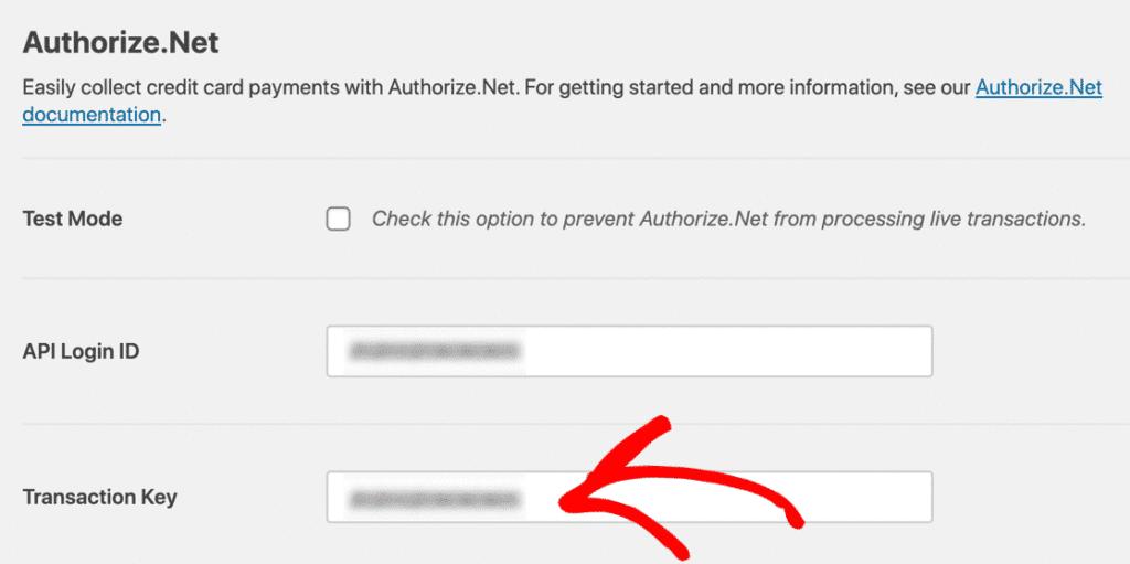 Authorize.net key confirmation