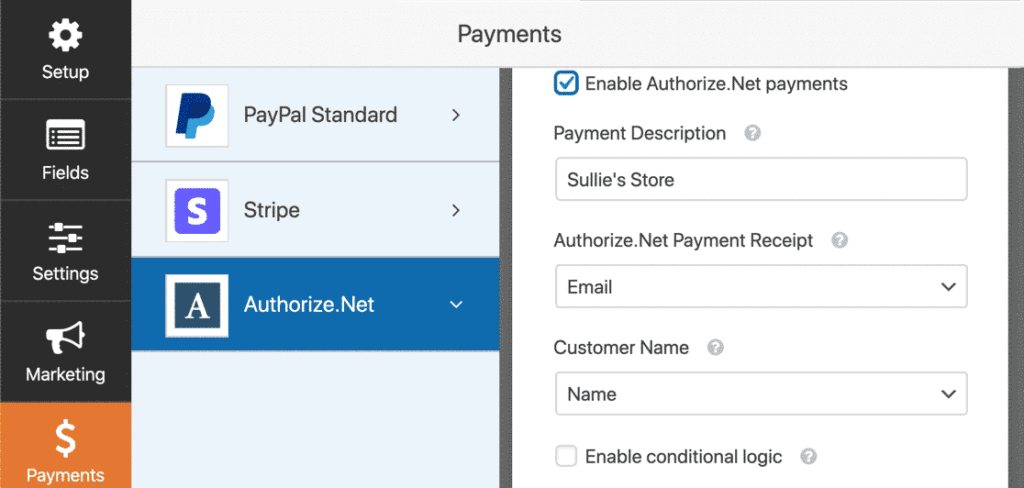 Wpform payment integration