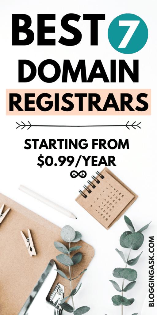 best 7 domain registrars starting from 0.99