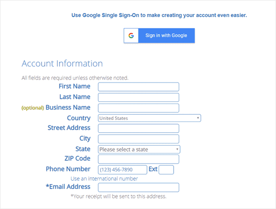 bluehost-coupon-enter-account-information