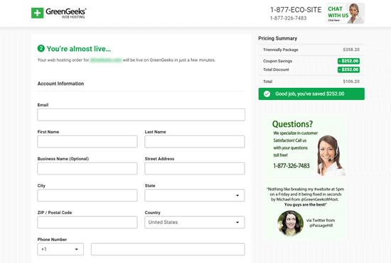 greengeeks-account-information-details