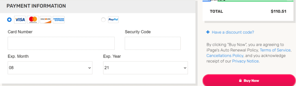 ipage payment methods