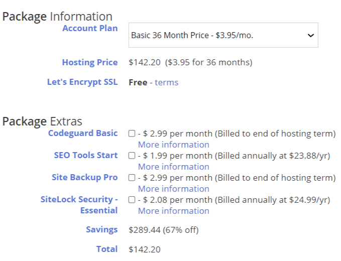just host package information