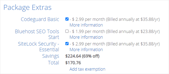 package-extras-bluehost-discount